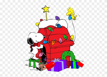 Snoopy Decorating His Dog House With Help From Woodstock - Snoopy Christmas Dog House png image transparent background