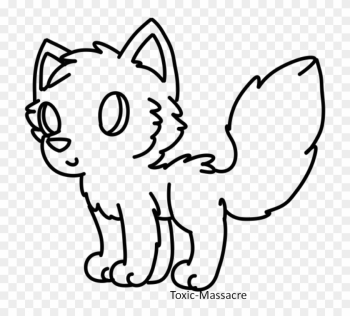 Free Chibi Wolf Lineart By Deerntheheadlights On Deviantart - Line Art png image transparent background