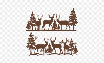 Winter Reindeer Scene Svg Scrapbook Cut File Cute Clipart - Free Deer Svg Cut Files png image transparent background