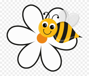 Free Bee And Flower Clipart Image 5149, Bee And Flower - Cartoon Bee On A Flower png image transparent background
