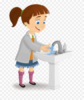 How To Wash Your Hands The Right Way - Girl Washing Hands Clipart png image transparent background
