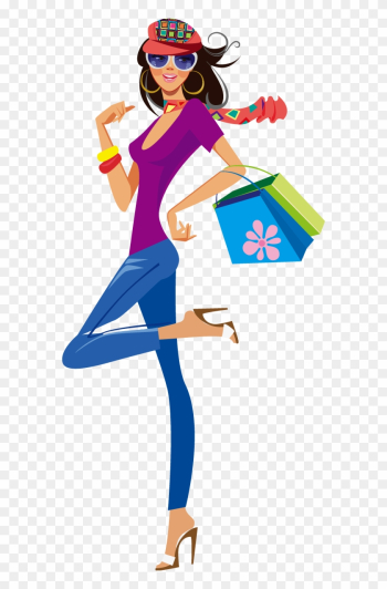 Shopping Clothing Illustration - Cute Shopping Girl Png png image transparent background