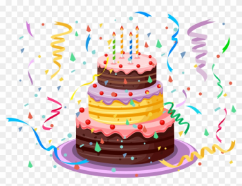 Birthday Cake With Confetti Png Clipart Picture - Happy Birthday Cake Clipart png image transparent background