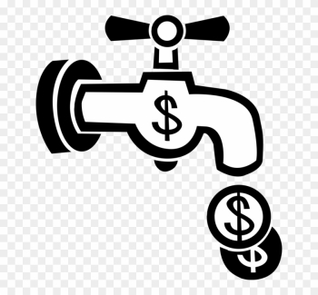 Vector Illustration Of Flushing Money Down The Drain - Torneira Com Moeda Png png image transparent background