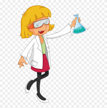 A Chemist & Mom - Cute Girl Scientist Cartoon png image transparent background
