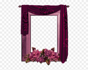 Transparent Png Frame With Curtain And Roses - Curtain Frame Png png image transparent background