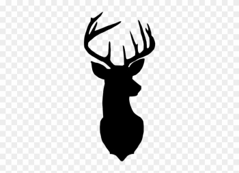 Reindeer Silhouette Stencil Clip Art - Black And White Deer Head png image transparent background