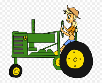 Cartoon John Deere Tractor Free Download Clip Art Free - Cartoon Girl On Tractor png image transparent background