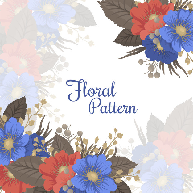 Flower page boarders - blue and red flowers Free Vector png image transparent background