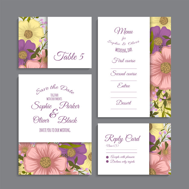 Set of card with flowers, leaves. wedding ornament concept. Free Vector png image transparent background