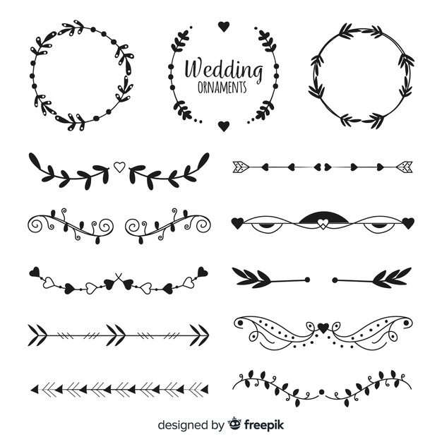 hand drawn wedding ornament collectio free vector nohat free for designer hand drawn wedding ornament collectio