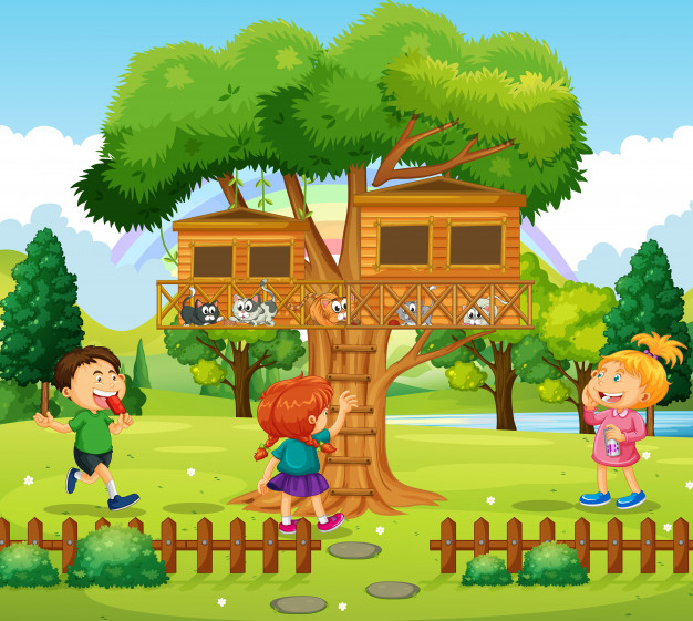 Three Kids Playing At The Treehouse Free Vector Nohat Free For Designer