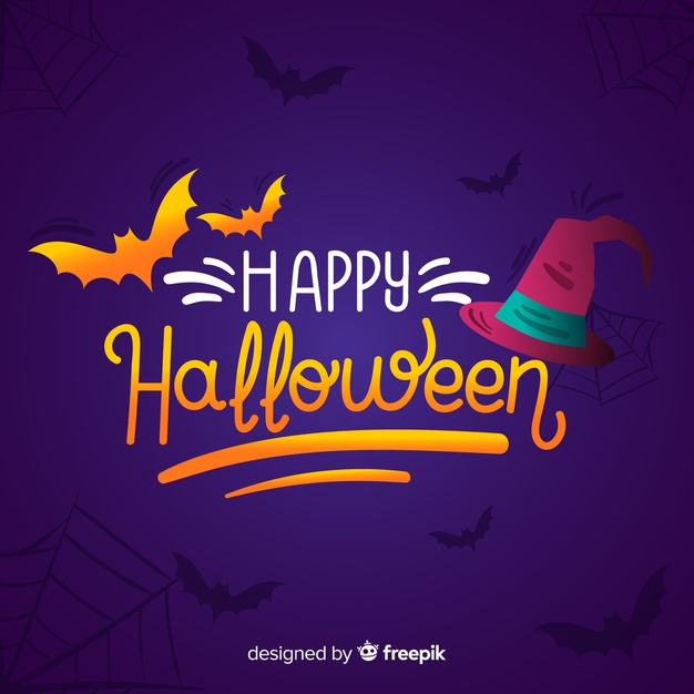 Happy Halloween Lettering Background Free Vector Nohat