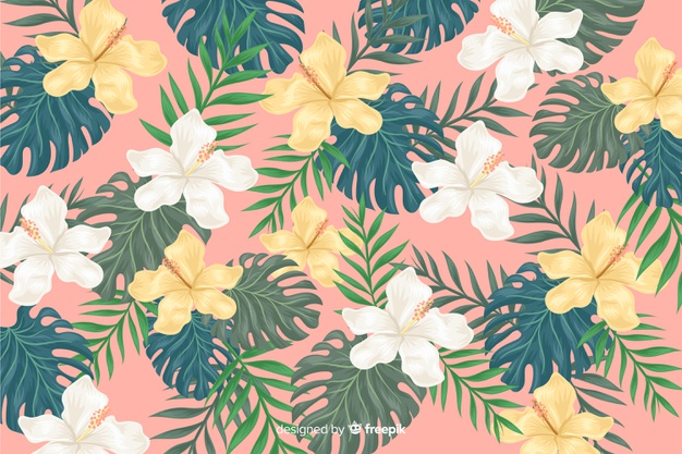 2d Tropical Flowers Background Free Vector Nohat Free For Designer Polish your personal project or design with these tropical flowers transparent png images, make it even more personalized and more attractive. 2d tropical flowers background free
