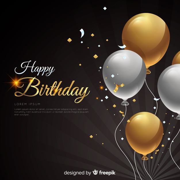 Realistic Birthday With Balloons Background Free Vector Nohat Free For Designer