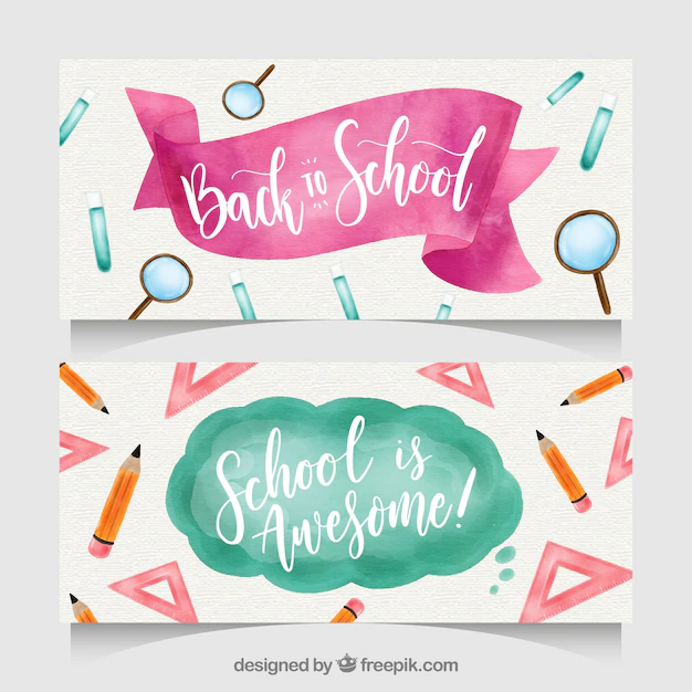 Back to school banners with elements - Nohat