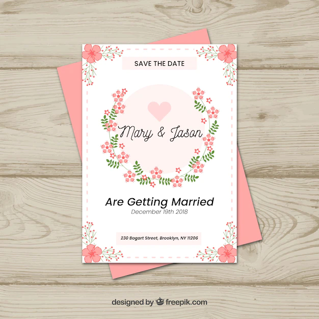 Save The Date Card With Floral Style Nohat