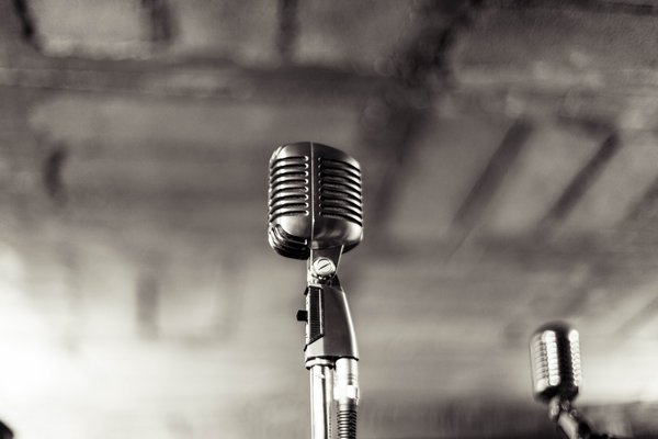 Black and white image of microphones png image transparent background