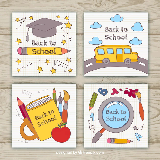 Wondrous Back To School Cards Collection With Elements Nohat Funny Birthday Cards Online Fluifree Goldxyz