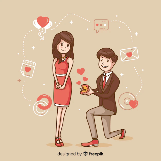 Lovely hand drawn marriage proposal concept - Nohat