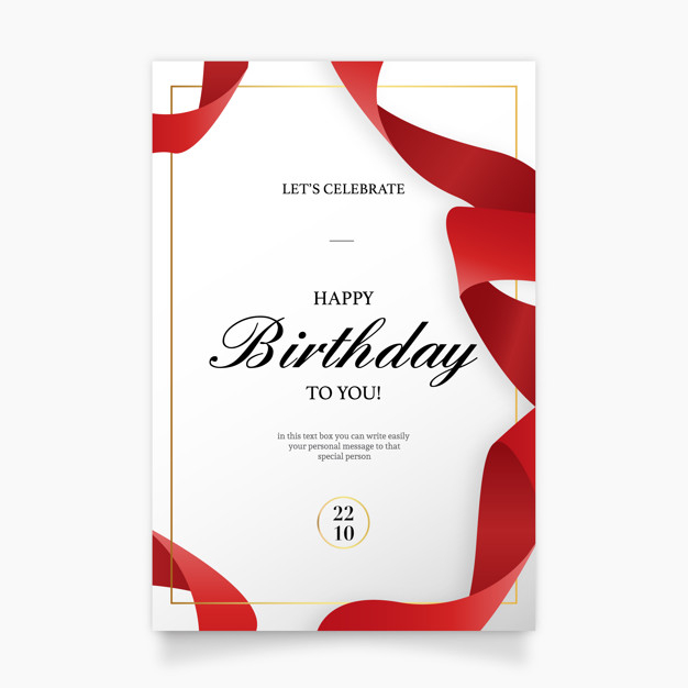Birthday Invitation Card With Red Ribbon Nohat