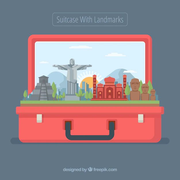 Landmarks In Red Suitcase Nohat