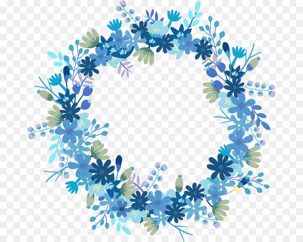 Paper Wreath Flower Blue Gift - Floral Wreath  png image transparent background
