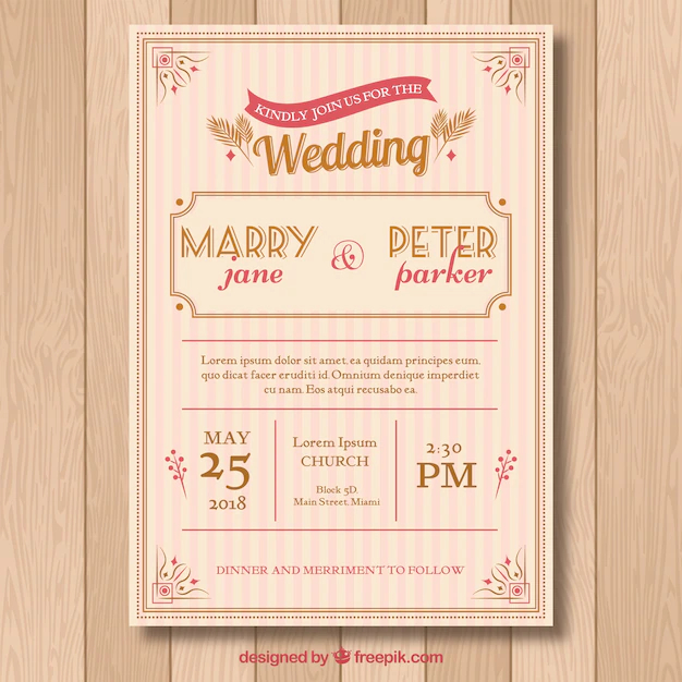 Wedding Invitation Card With Floral Ornaments Nohat