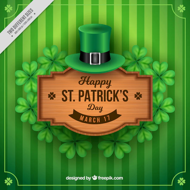 Green Striped Background With Wooden Sign Of Saint Patricks Day Nohat
