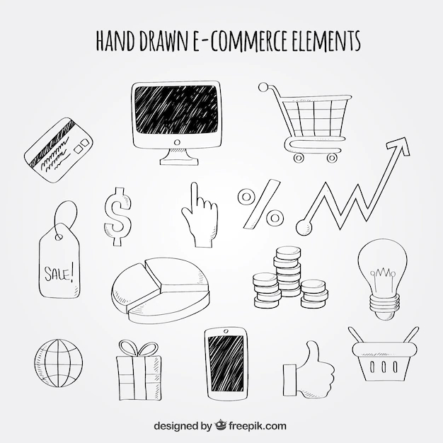 Hand Drawn Pack Of E Commerce Elements