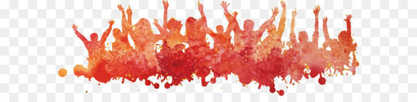 Painting Crowd - Promotional material orange character poster background  png image transparent background