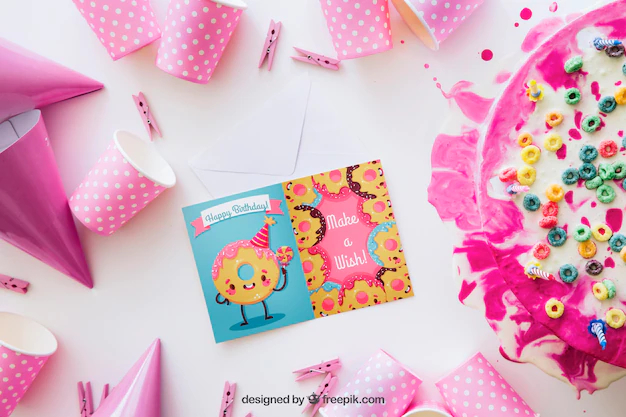 Card Mockup With Birthday Design Nohat