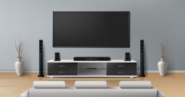 Realistic Mockup Of Living Room With Big Plasma Tv On Flat Gray Wall Black Stand Nohat Free For Designer