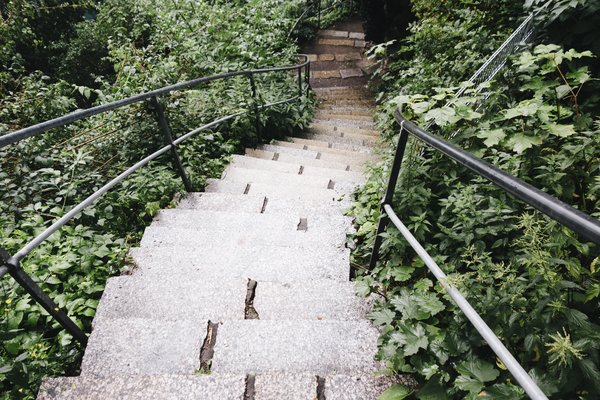 Staircase in park png image transparent background