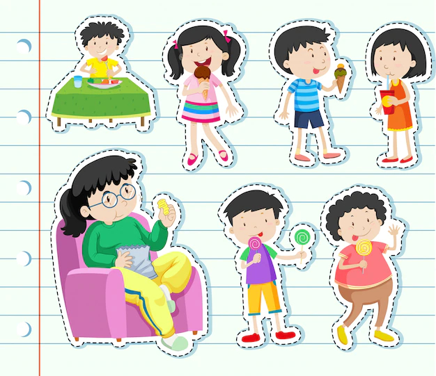 Sticker design with many kids eating sweets - Nohat