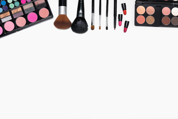 Frame Of Makeup Cosmetics And Brushes On White Background Nohat