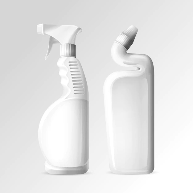 Household cleaning chemicals of 3D mockup bottles of toilet