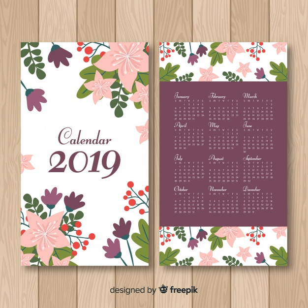 Hand drawn flowers calendar template - Nohat