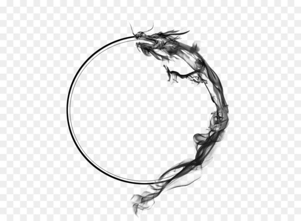 Chinese dragon Ink - Ancient dragon circle  png image transparent background
