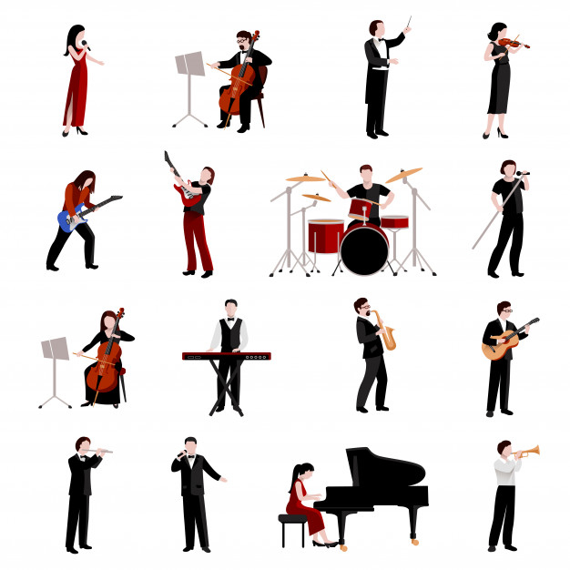 Musicians flat icons set with pianist clarinet trumpet
