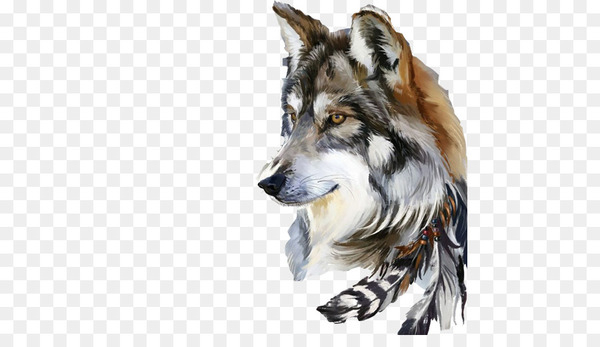 Gray wolf Drawing Art Watercolor painting - Wolf Avatar material