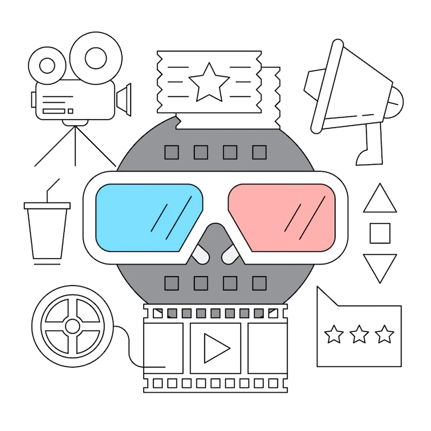 Set of cinema outline icons - Nohat