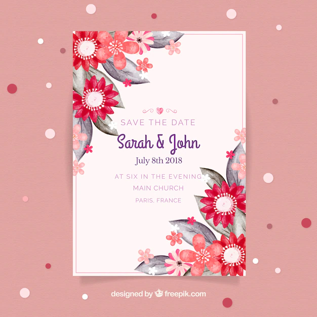 Wedding Invitation Card In Watercolor Style Nohat