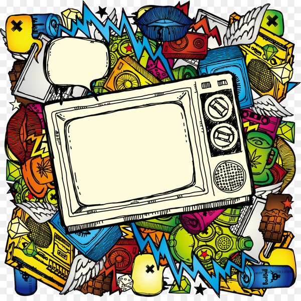 Television show Drawing Illustration - Hand-painted color TV multimedia elements  png image transparent background