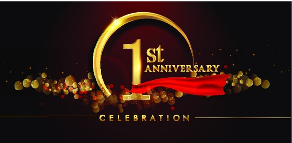 1st anniversary logo with golden ring confetti and red ribbon isolated on elegant black background sparkle vector design for greeting card and invitation card nohat free for designer 1st anniversary logo with golden ring