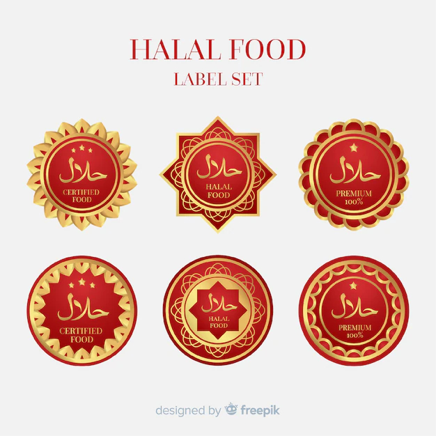 Golden halal label collection with flat design - Nohat