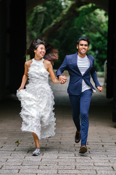 Amazing Bride And Groom Running On Concrete Pathway Nohat Download Free Architecture Designs Scobabritishbridgeorg
