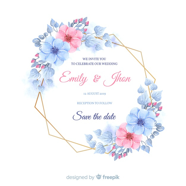 Floral Frame Wedding Invitation Template Free Vector Nohat Free For Designer