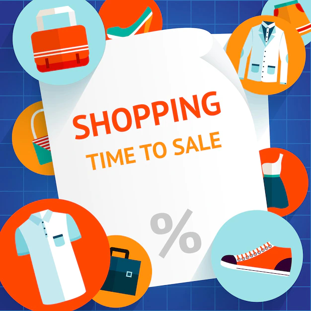 Fashion Clothing Time To Sale Shopping Background Template