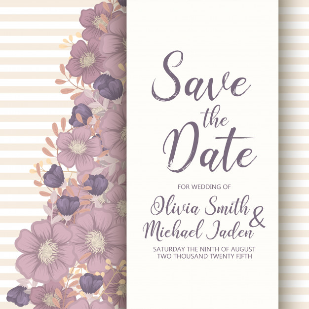 Wedding Invitation Card Template With Colorful Flower Free